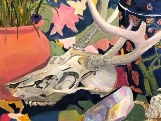 Anna Valdez- Deer Skull with Blue Vase (Detail)